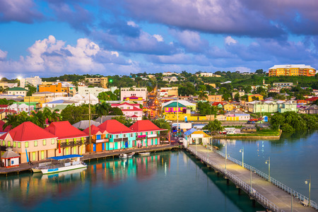 St. John's, Antigua and Barbuda cityscape over Redcliffe Quay at dusk. Stock Photo