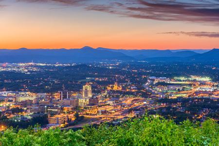 Roanoke, Virginia, USA downtown skyline at dusk.