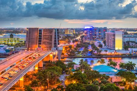 Fort Lauderdale, Florida, USA skyline drawbridge at dusk.