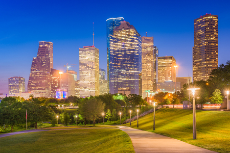 Houston, Texas, USA skyline and park at dusk. Stock Photo