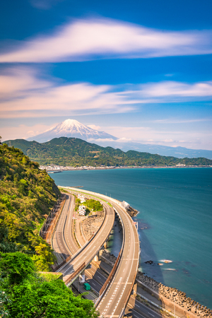 Satta Pass, Shizuoka, Japan with Mt. Fuji and Suruga Bay.