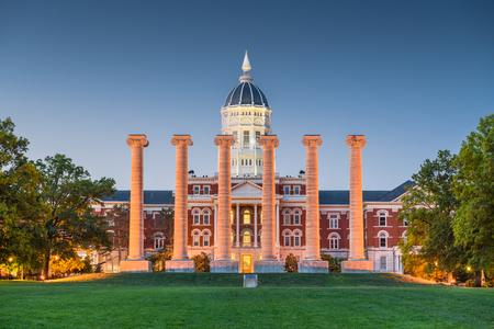 Columbia, Missouri, USA historic campus and columns.