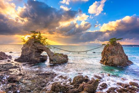 Noto Peninsula, Ishikawa, Japan at the Hatago Iwa Rock during sunset. Stock Photo