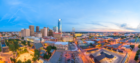Oklahoma City, Oklahoma, USA downtown skyline at twilight. 写真素材