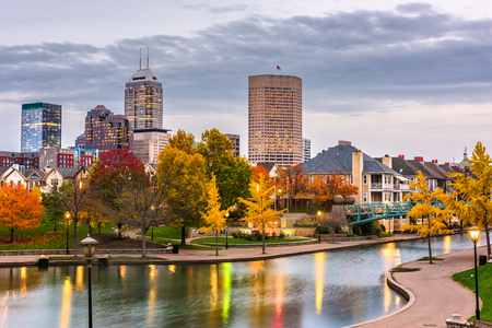 Indianapolis, Indiana, USA downtown cityscape on the White River at dusk. Stock Photo