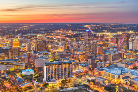 San Antonio, Texas, USA downtown skyline from above at dusk. Stock Photo