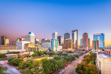 Houston, Texas, USA downtown park and skyline at twilight. Imagens - 114773845