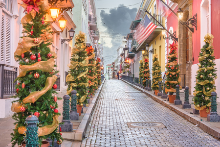 San Juan, Puerto RIco Christmas tree lined road in the old town. Stock Photo