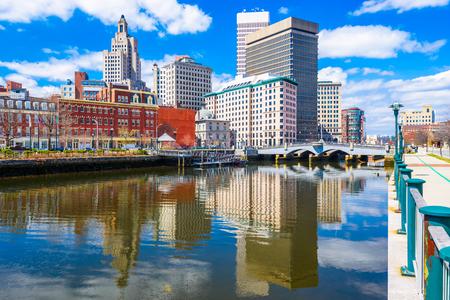 Providence, Rhode Island, USA downtown skyline on the river. Stock Photo