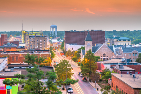 Columbia, Missouri, USA downtown city skyline at twilight.