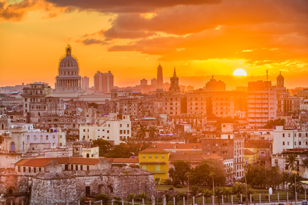 Havana, Cuba downtown skyline with the capitolio at sunset. Stock Photo