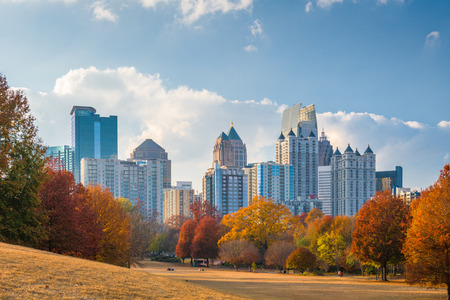 Atlanta, Georgia, USA midtown skyline from Piedmont Park in autumn in the afternoon. Stock Photo