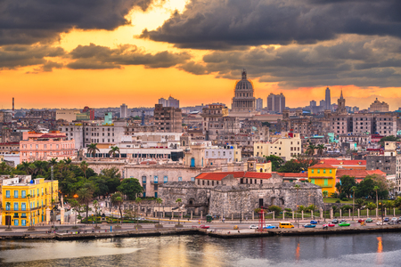 Havana, Cuba downtown skyline on the water just after sunset. Stock Photo