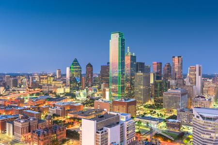 Dallas, Texas, USA skyline over Dealey Plaza. 스톡 콘텐츠
