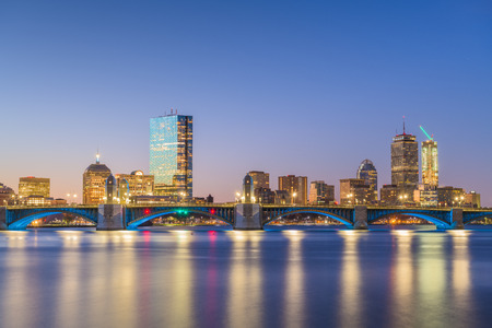Boston, Massachusetts, USA skyline on the Charles River at dawn. -