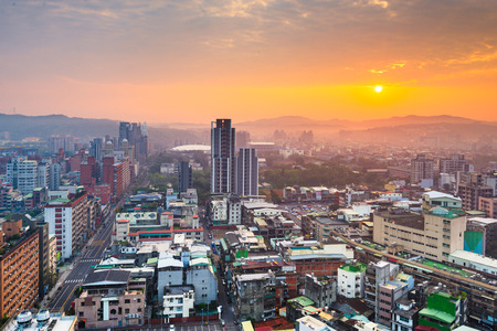 Hsinchu, Taiwan downtown city skyline from above at dawn. Reklamní fotografie - 118218560