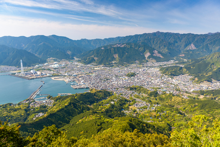 Town waterfront on the Kii Peninsula in Owase, Mie Prefecture, Japan.