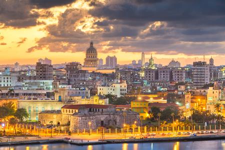 Havana, Cuba downtown skyline at dusk.