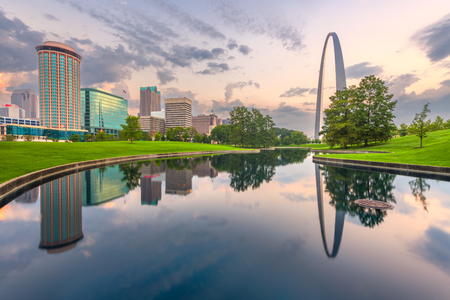 St. Louis, Missouri, USA city skyline and park in the morning.