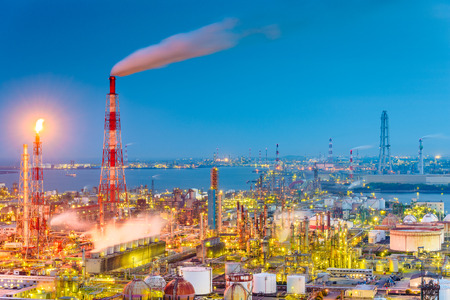 Factories and production plants at dusk in Yokkaichi, Japan. Stock Photo