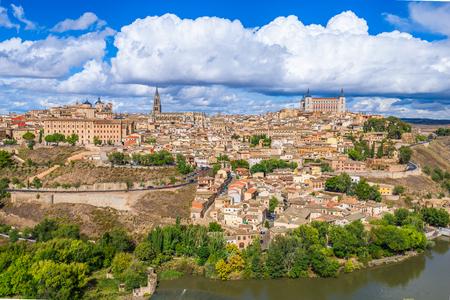 Toledo, Spain old town city skyline atr dawn.