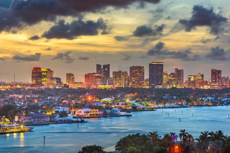 Fort Lauderdale, Florida, USA skyline and river at dusk.