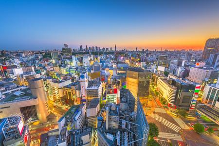 Tokyo, Japan city skyline over Shibuya Ward with the Shinjuku Ward skyline in the distance.
