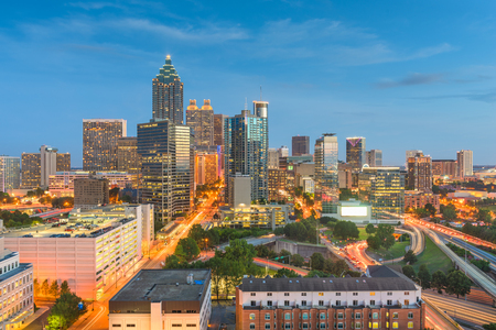 Atlanta, Georgia, USA downtown city skyline at dusk.