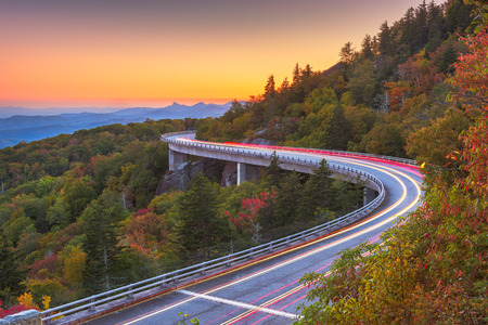 Grandfather Mountain, North Carolina, USA at Linn Cove Viaduct after sunset.