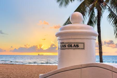 Fort Lauderdale, Floride, USA vue sur la plage depuis la fin du boulevard Las Olas.