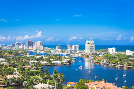 Fort Lauderdale, Floryda, USA panoramę nad Barrier Island.