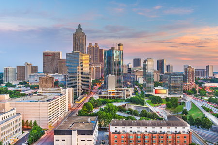 Atlanta, Georgia, USA centrum panoramę miasta o zmierzchu. Zdjęcie Seryjne