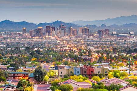 Phoenix, Arizona, USA downtown cityscape at dusk. Imagens