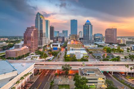 Tampa, Florida, USA aerial downtown skyline at dusk.