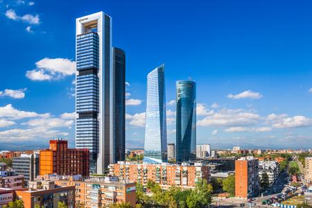 Madrid, Spain financial district skyline.