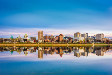 Harrisburg, Pennsylvania, USA downtown city skyline on the Susquehanna River in the late afternoon.