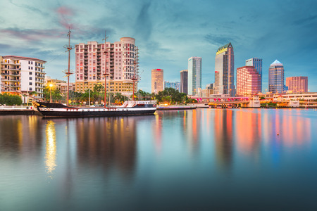 Tampa, Florida, USA downtown skyline on the bay at twilight.
