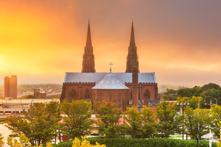 Albany, New York, USA at  the Cathedral of the Immaculate Conception in the morning. Imagens