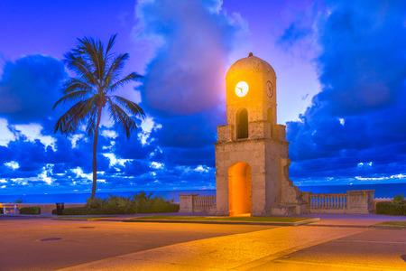 West Palm Beach, Florida, USA at the beach clock tower.