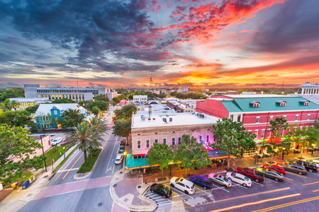 Gainesville, Florida, USA downtown cityscape at dusk.