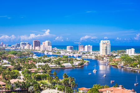 Fort Lauderdale, Florida, USA skyline over Barrier Island. Stock Photo