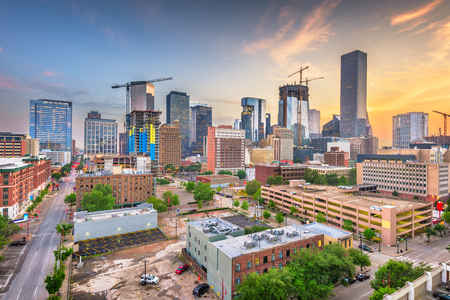 Houston, Texas, USA downtown city skyline at twilight. Banco de Imagens