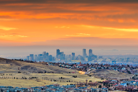 Denver, Colorado, USA downtown skyline viewed from Red Rocks at dawn.