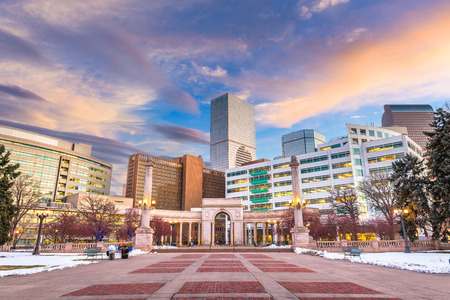 Denver, Colorado, USA downtown cityscape in Civic Center park at duskl Stock Photo