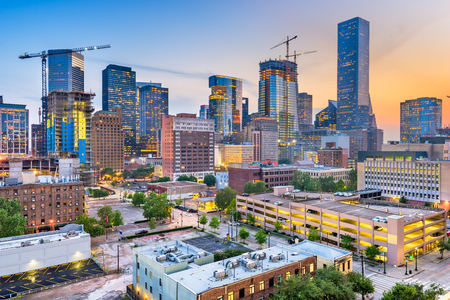 Houston, Texas, USA downtown city skyline at twilight. 版權商用圖片