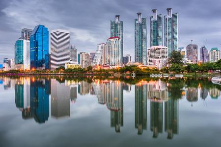 Bangkok, Thailand at Benjakiti Park at dusk.