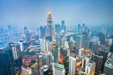 Kuala Lumpur, Malaysia city skyline witth thick haze.
