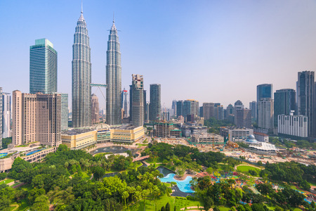 Kuala Lumpur, Malaysia downtown city skyline in the morning. Фото со стока