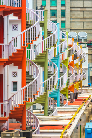 Singapore cityscape and spiral staircases. 版權商用圖片