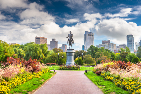 George Washington Monument at Public Garden in Boston, Massachusetts. 免版税图像